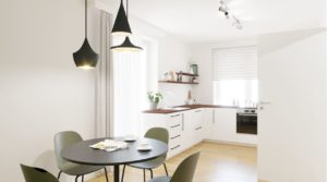 Immobilienmakler-zeigt-Wohnung-in-Spandau-mit-Wohnkueche